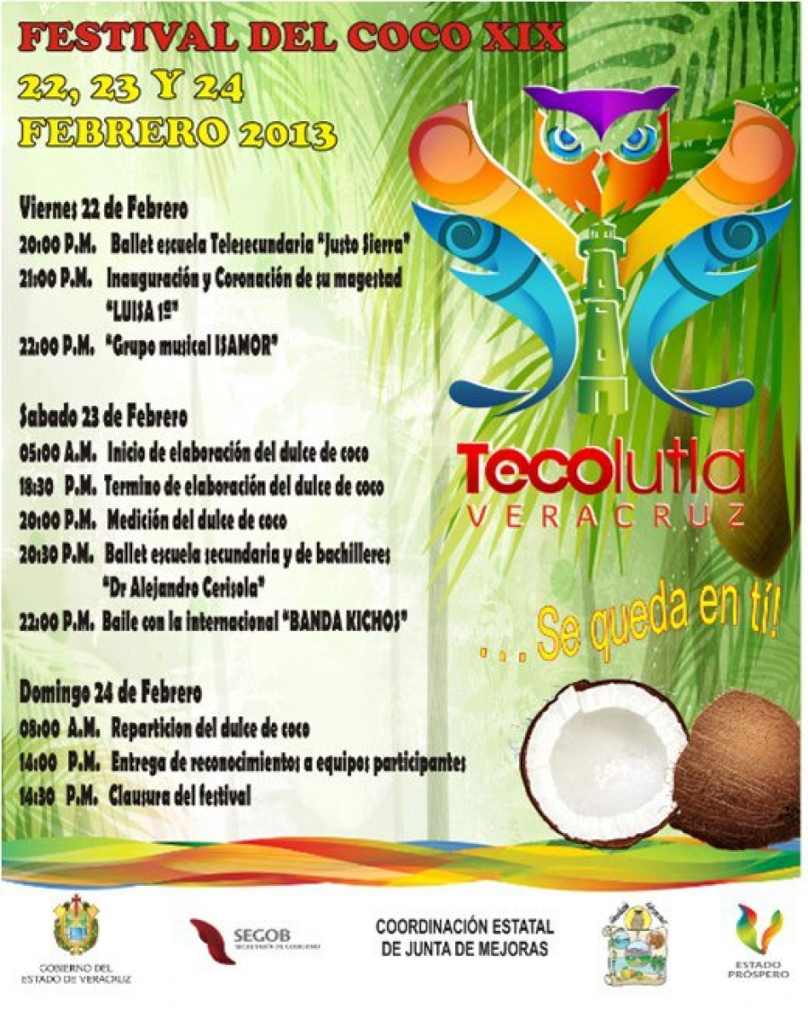 Festival del Coco 2013 en Tecolutla Veracruz